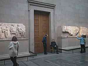doorway in the British Museum masking missing section of Frieze